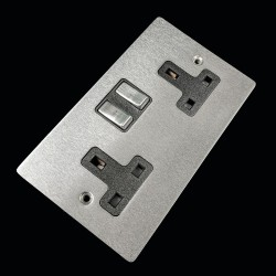2 Gang 13A Switched Double Socket in Satin Chrome Plate and Switch with Black Plastic Trim, Elite Flat Plate