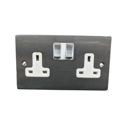 2 Gang 13A Switched Double Socket in Satin Chrome Plate and Switch with White Plastic Trim, Elite Flat Plate