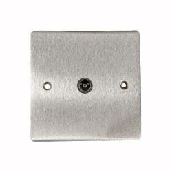 1 Gang TV/Coaxial Non-Isolated Socket in Satin Chrome Plate with Black Trim, Elite Flat Plate