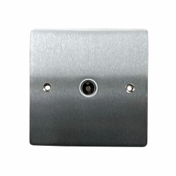 1 Gang TV/Coaxial Non-Isolated Socket in Satin Chrome Plate with White Trim, Elite Flat Plate