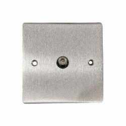 1 Gang Satellite Socket in Satin Chrome Flat Plate with Black Plastic Trim, Elite Flat Plate