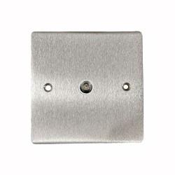 1 Gang Satellite Socket in Satin Chrome Flat Plate with White Plastic Trim, Elite Flat Plate