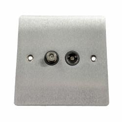 Satellite/TV Socket Outlet in Satin Chrome Flat Plate with Black Plastic Trim, Elite Flat Plate