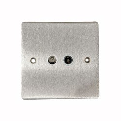 Satellite/TV Socket Outlet in Satin Chrome Flat Plate with White Plastic Trim, Elite Flat Plate
