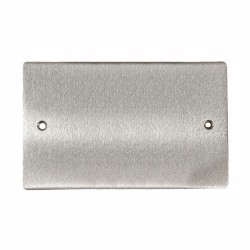 2 Gang Blank Plate - Double Section Blanking Plate in Satin Chrome Flat Plate, Elite Flat Plate