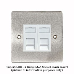 2 Gang RJ45 Data Socket Outlet in Satin Chrome Flat Plate with Black Plastic Trim, Elite Flat Plate