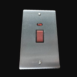 45A Red Rocker Cooker Switch with Neon Indicator (twin plate) in Satin Chrome Flat Plate with Black Trim