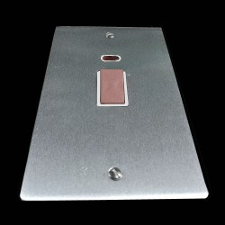 45A Red Rocker Cooker Switch with Neon Indicator (twin plate) in Satin Chrome Flat Plate with White Trim, Elite Flat Plate