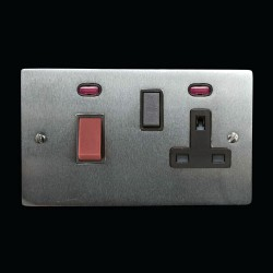 45A Cooker Unit with 13A Switched Socket and Neon Indicators in Satin Chrome with Black Trim, Elite Flat Plate