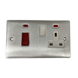 45A Cooker Unit with 13A Switched Socket and Neon Indicators in Satin Chrome Flat Plate with White Trim, Elite Flat Plate