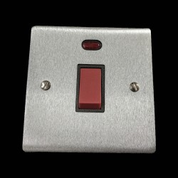45A Red Rocker Cooker Switch (Single Plate) with Neon in Satin Chrome Flat Plate with Black Trim, Elite Flat Plate