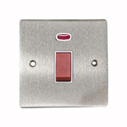 45A Red Rocker Cooker Switch (Single Plate) with Neon in Satin Chrome Flat Plate with White Trim, Elite Flat Plate
