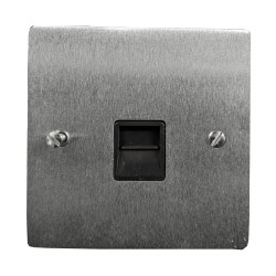 1 Gang Secondary Telephone Socket in Satin Chrome Flat Plate with Black Trim, Elite Flat Plate