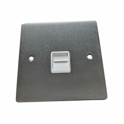 1 Gang Secondary Telephone Socket in Satin Chrome Flat Plate with White Trim, Elite Flat Plate