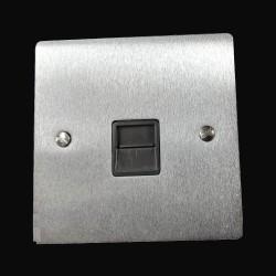 1 Gang Master Line Telephone Socket in Satin Chrome Flat Plate with Black Trim, Elite Flat Plate