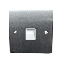 1 Gang Master Line Telephone Socket in Satin Chrome Flat Plate with White Trim, Elite Flat Plate