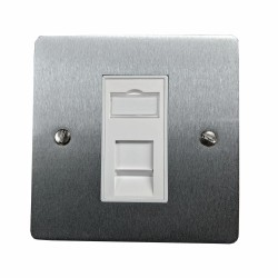 1 Gang RJ45 Data Socket Outlet in Satin Chrome Flat Plate with White Trim, Elite Flat Plate