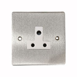 1 Gang 5A 3 Pin Unswitched Socket in Satin Chrome Flat Plate with White Trim, Elite Flat Plate