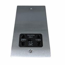 Shaver Socket Dual Voltage Output 110/240V in Satin Chrome Flat Plate with Black Trim, Elite Flat Plate