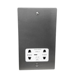 Shaver Socket Dual Voltage Output 110/240V in Satin Chrome Flat Plate with White Trim, Elite Flat Plate