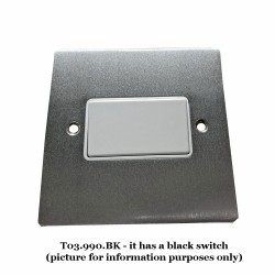 6A Triple Pole Fan Isolator Switch in Satin Chrome Plate with Black Plastic Trim and Switch, Elite Flat Plate