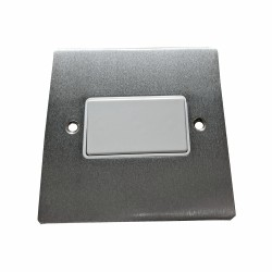 6A Triple Pole Fan Isolator Switch in Satin Chrome Plate with White Trim and Switch, Elite Flat Plate