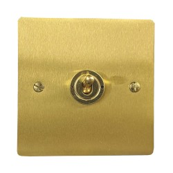 1 Gang 2 Way 20A Single Dolly Switch in Satin Brass Flat Plate and Toggle, Elite Flat Plate