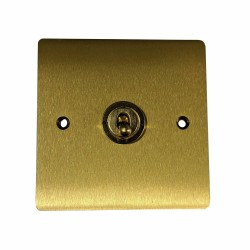1 Gang Intermediate 20A Dolly Switch in Satin Brass Flat Plate and Toggle, Elite Flat Plate