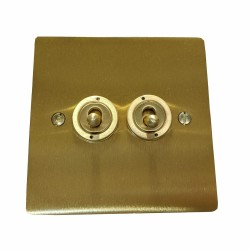2 Gang 2 Way 20A Twin Dolly Switch in Satin Brass Flat Plate and Toggle, Elite Flat Plate