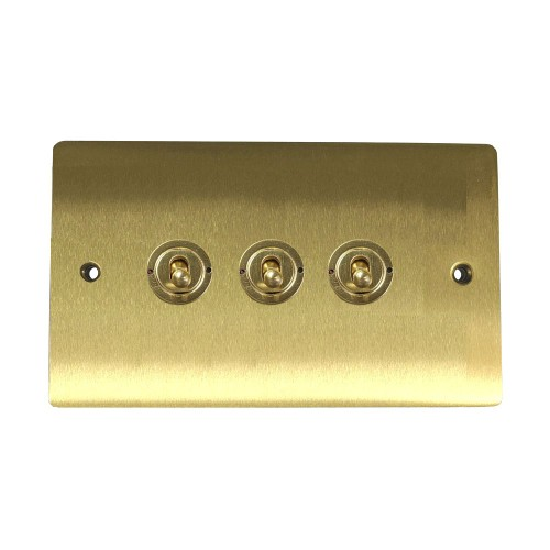 3 Gang 2 Way 20A Triple Dolly Switch in Satin Brass Flat Plate and Toggle, Elite Flat Plate