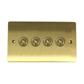 4 Gang 2 Way 20A Dolly Switch in Satin Brass Flat Plate and Toggle Switches, Elite Flat Plate