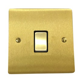 1 Gang 2 Way 10A Rocker Switch in Satin Brass Plate and Switch with Black Plastic Trim, Elite Flat Plate
