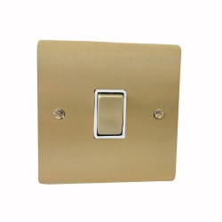 1 Gang 2 Way 10A Rocker Switch in Satin Brass Plate and Switch with White Plastic Trim, Elite Flat Plate