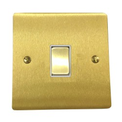 1 Gang 20A Double Pole Rocker Switch in Satin Brass Plate and Switch with White Trim, Elite Flat Plate