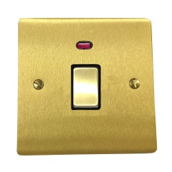 1 Gang 20A Double Pole Switch with Neon in Satin Brass Plate and Switch with Black Trim, Elite Flat Plate