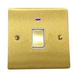 1 Gang 20A Double Pole Switch with Neon in Satin Brass Plate and Switch with White Trim, Elite Flat Plate