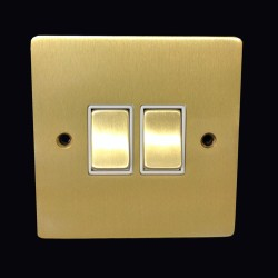 2 Gang 2 Way 10A Rocker Switch in Satin Brass Plate and Switch with White Plastic Trim, Elite Flat Plate
