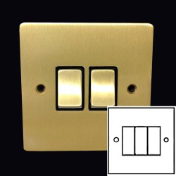 3 Gang 2 Way 10A Rocker Switch in Satin Brass Plate and Switch with Black Plastic Trim, Elite Flat Plate