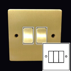 3 Gang 2 Way 10A Rocker Switch in Satin Brass Plate and Switch with White Plastic Trim, Elite Flat Plate