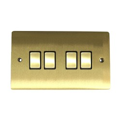 4 Gang 2 Way 10A Rocker Switch in Satin Brass Plate and Switch with Black Plastic Trim, Elite Flat Plate