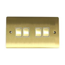 4 Gang 2 Way 10A Rocker Switch in Satin Brass Plate and Switch with White Plastic Trim, Elite Flat Plate