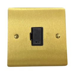 1 Gang 13A Unswitched Fused Spur in Satin Brass Plate with Black Plastic Trim, Elite Flat Plate