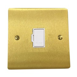 1 Gang 13A Unswitched Fused Spur in Satin Brass Plate with White Plastic Trim, Elite Flat Plate