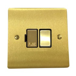13A Switched Fused Spur in Satin Brass Plate and Switch with Black Plastic Trim, Elite Flat Plate