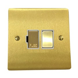 13A Switched Fused Spur in Satin Brass Plate and Switch with White Plastic Trim, Elite Flat Plate