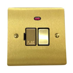 13A Switched Fused Spur with Neon in Satin Brass Plate and Switch with Black Plastic Trim, Elite Flat Plate