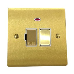 13A Switched Fused Spur with Neon in Satin Brass Plate and Switch with White Plastic Trim, Elite Flat Plate