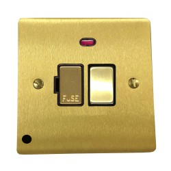 13A Switched Fused Spur with Neon and Cord in Satin Brass Plate and Switch with Black Plastic Insert, Elite Flat Plate