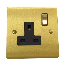13A Switched Single Socket in Satin Brass Plate and Switch with Black Trim, Elite Flat Plate