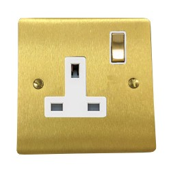 13A Switched Single Socket in Satin Brass Plate and Switch with White Trim, Elite Flat Plate